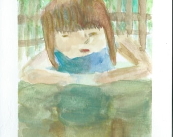 Original Watercolor Portrait Painting/ Illustration- Little Girl in the Garden