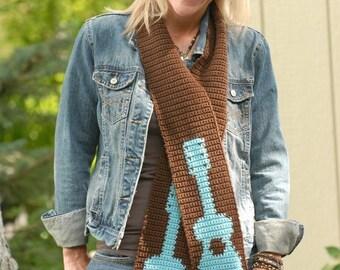 Rockin' Guitar Scarf Crochet PATTERN - INSTANT DOWNLOAD