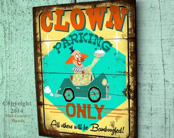 Retro Wood Sign Circus Clown Parking Cartoon Yard Art 1950 Vintage Style
