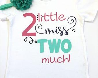 2nd Little Miss Two Much Shirt, Girl's Birthday Shirts, Birthday Shirts For Girls, Turning 2 Birthday Shirts, It's My Birthday Shirt