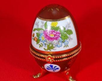 Vintage My Treasure Genuine Porcelain Egg Jewelry Cover Trinket Box
