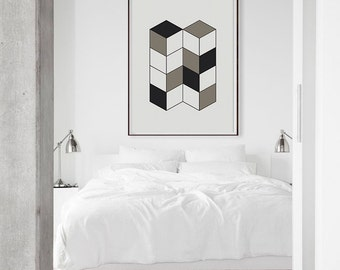Geometric Cubes Printable Art - Instant Download. 3d Geometric Shape Minimal Art Poster. Minimalist Poster. Trendy Abstract Art Print.