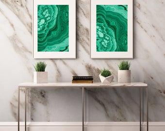 Set of 2 Malachite  Prints  - Prints (Print #108 & 109) - Fine Art Print - Two Paper Choices- Mineral Geode Agate Crystal Decor