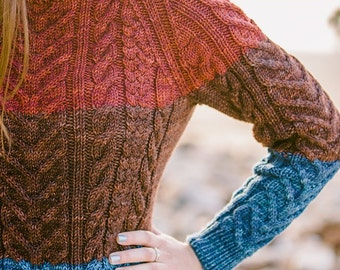 Cables by Carol Tri Colored Pullover Sweater Pattern