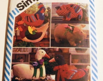 Pig, Hen Chicken and Duck Goose sewing pattern Simplicity 6148 Stuffed animals Marjorie Puckett