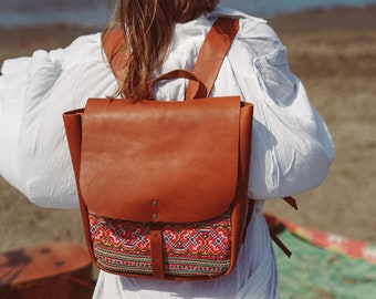 Leather Embroidered Backpack