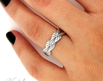 Sterling Silver 925 Leaf women Ring plain Band flower jewelry Leaf band ring (R54)