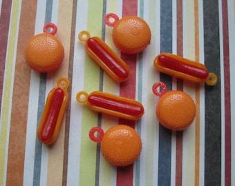 8 Hotdog and Hamburger Charms - C2390