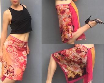 Tango skirt, Argentine tango, red, orange chiffon asymmetrical