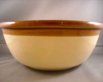 Brown Rimmed  Pottery Mixing  Bowl