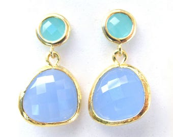 Blue Chalcedony Earrings 14k Gold Plated Dangle Earrings Teal and Pastel Blue