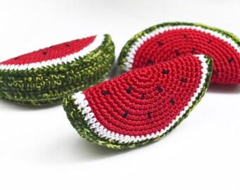 Crochet Watermelon slice Crochet toy Teething Toy Pretend food Crochet vegetables Crochet fruits Pretend play Nursery decor Kids gift