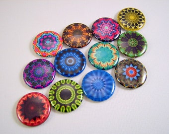 Kaleidoscope Flatback Buttons, Pins, Magnets 12 Ct.