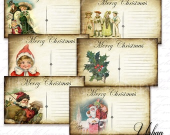 Printable Christmas Postcards - perfect for journaling, scrapbooking or as gift tags!