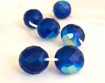 Matte Capri AB, Czech Fire Polished Beads 12mm 6 Faceted Round Glass