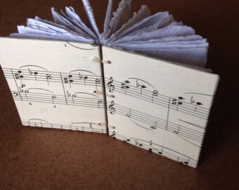 Music journal, recycled journal, handmade paper, musician, vintage music, sheet music, upcycled sketch book, homemade paper