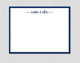 Couples Note Cards, Personalized Stationery, Flat Note Cards, Monogram Note Cards, Custom Stationery, Wedding Thank You Note