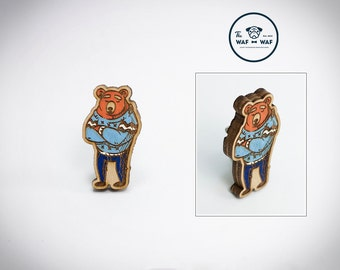 Bear brooch, wooden bear jewelry, wooden bear pin