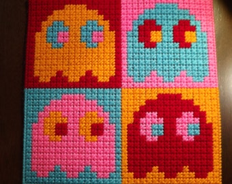 Pac-Man Ghosts Pop-Art Plastic Canvas Panel