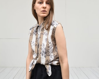 vintage linen vertical striped floral sleeveless shirt blouse button up tank top medium size in white sand brown and black