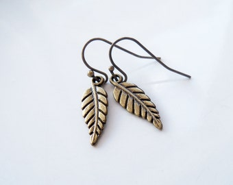 Small Leaf Earrings - Tiny Dangle Earrings - Bridal Jewelry - Bridesmaid Earrings - Antique Brass Jewelry - French Hook Ear Wires