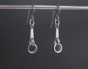 Industrial Earrings, Industrial Metal Jewelry, Stainless Steel Jewelry, Metal Dangle Earrings, Stainless Steel Earrings, Edgy Jewelry