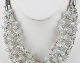 Layered Iridescent Bead Bib Necklace White