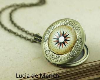 Compass  locket necklace - Compass jewelry - Travellers  jewelry - Traveller gift -Coupon code