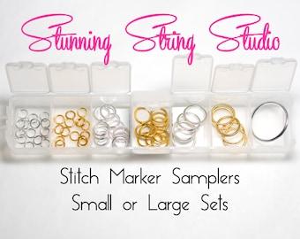 Sampler Metal Ring Stitch Markers 4 sizes in 2 colors - Small Sampler or Large Sampler