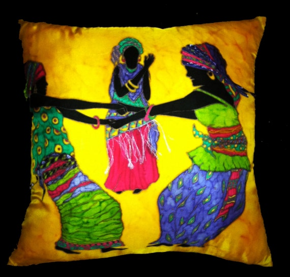 CELEBRATION OF LIFE - Hand-Painted Silk Decorative Pillow - - Made-To-Order