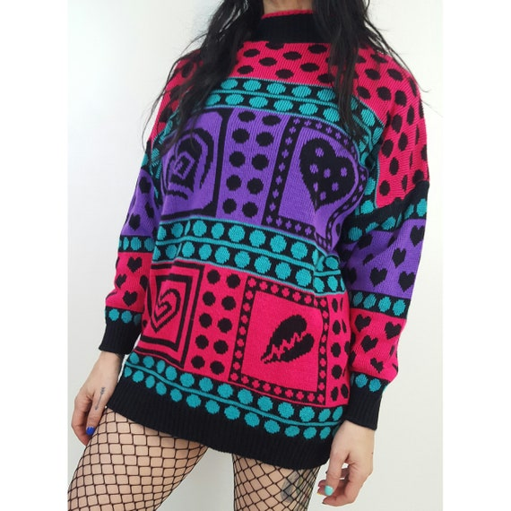 80's Allover Pattern Pullover Medium - Polka Dot All Over Print Slouchy Knit Sweater - Acrylic Knitted Pullover Womens Vintage Knits Pink