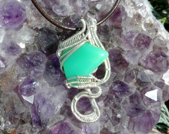 Handmade .925 Sterling Silver Wire-Wrapped Chrysoprase Pendant with Necklace