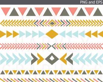Tribal Digital Border Clip Art Eps Small Commercial Use  PNG Instant Download