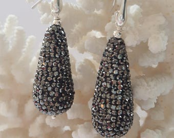 Silver earrings with Rhinestone drops