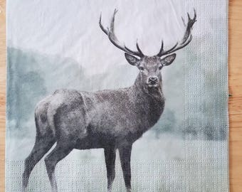 Set of 4 Stag Deer Square Paper Lunch Napkins For Decoupage Craft Party Scrapbooking #156