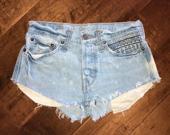 Light Wash Bleach Dyed Hand Painted Cut Off Shorts