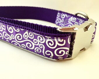 Dog Collar, Purple Swirls, 1 inch wide, adjustable, quick release, metal buckle, chain, martingale, hybrid, nylon