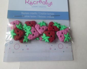 12 buttons x red Strawberry resin and pink 18 x 15 mm