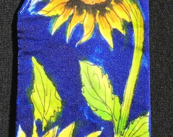 Handpainted Silk Eye Glass Case with Sunflowers Design