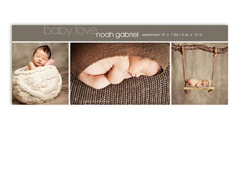 Newborn Birth Announcement Baby Facebook Timeline Cover Template - Noah - 1281