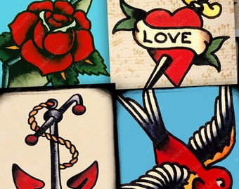 Vintage Retro Tattoo Digital Collage Sheet 1 Inch Square Printable Tattoos Sailor Jerry Bird Anchor Rose Heart Mom piddix 967