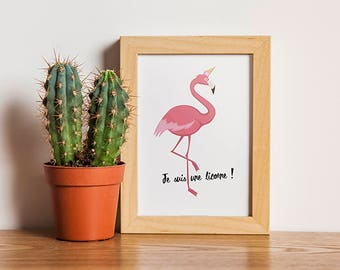 A3 - Pink Flamingo Poster - I'm a Unicorn - exotic, palm tree, tropical inspiration, tropical trend