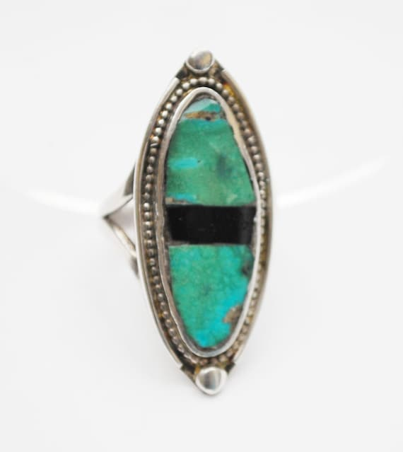 Sterling Blue Turquoise  onyx Ring  size 8  striped black gemstone  Navajo   native American  Old Pawn  southwestern
