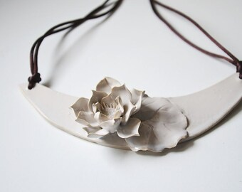 Stoneware Necklace waterlily - Waterlily Necklace - Statement Necklace