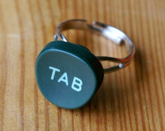 Vintage Typewriter Upcycled Mid-Century Type Tab Indent Key Button Ring