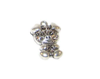 16 x 26mm Silver Pig Charm - 2 charms, fits 2mm rhinestone