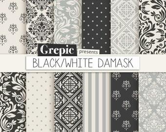 """Black / gray damask digital paper: """"BLACK / WHITE DAMASK"""" digital paper pack with black, white and gray damask backgrounds"""