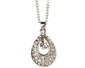 Angel Teardrop Necklace With Crystal Element 18K Gold Plated - White Gold