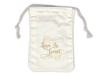 Love Is Sweet Calligraphy Cotton Bags for Wedding Favors in Gold and Pink - Ivory Fabric Drawstring Bags - Set of 12 (1052)