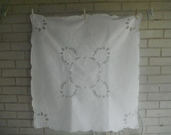 vintage tablecloth white cotton cloth cut out embroidery sqaure tablecloth PETITE cloth 30 inch square cloth shabby chic wedding decor
